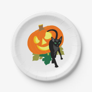 Halloweenkatze und -kürbis pappteller 17,8 cm