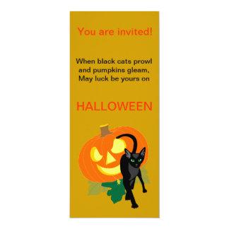 Halloweenkatzen-und -kürbis-Einladung 10,2 X 23,5 Cm Einladungskarte