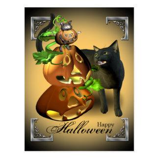 Halloweenkatzen-und -mäusespiel-Postkarte Postkarte