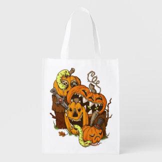 Halloweenkürbis-und -schlangen-wiederverwendbare wiederverwendbare einkaufstasche