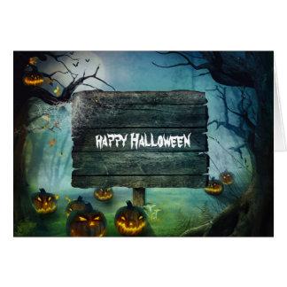 Halloweenkürbise und -zeichen karte