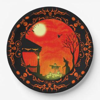 HalloweenpapierTeller, Hexen, schwarze Katzen, Pappteller