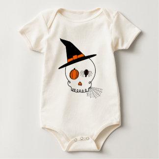 Halloweenschädel-u. -spinnen-Netz Baby Strampler