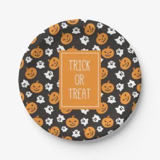 Halloweentrick-oder -Leckerei-niedliche Schädel Pappteller