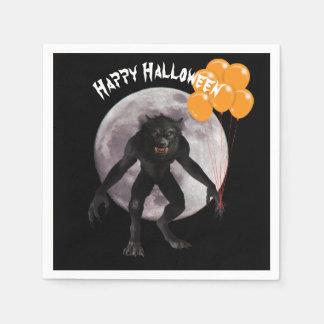 HalloweenWerewolf mit Ballonen Serviette