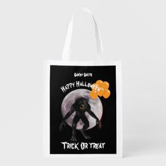 HalloweenWerewolf mit Ballonen Wiederverwendbare Einkaufstasche