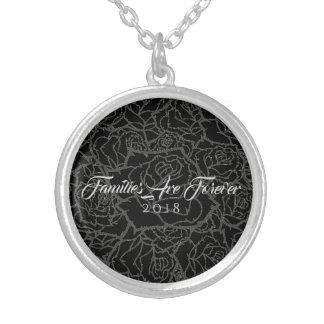 Halskette schwarze u. silberne Rose-Familien sind