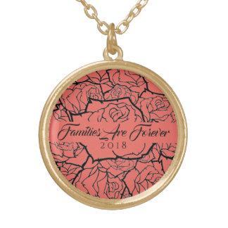 Halsketten-korallenrote Rosen in den Gold-Familien Vergoldete Kette