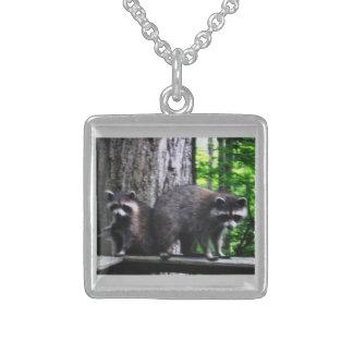 HalskettenRacoons, -mutter und -baby Sterling Silberkette