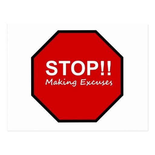 Halt!! Herstellung von Entschuldigungen Postkarten