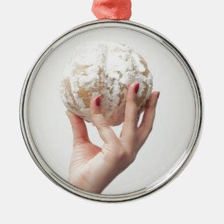 Halten der Pampelmuse Silbernes Ornament