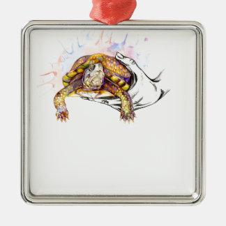 Halten einer Schildkröte Silbernes Ornament