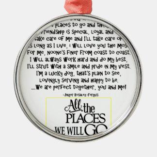 Halten Sie Hund instand, den Gedicht FNL ZURÜCK Rundes Silberfarbenes Ornament