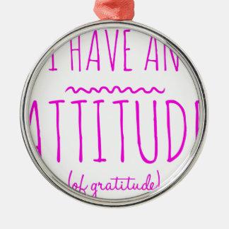 Haltungs-Dankbarkeits-ErholungDetox OM Silbernes Ornament