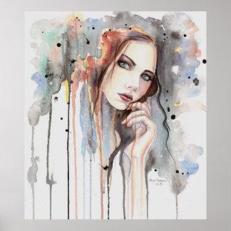 Haltungwatercolor-abstraktes Porträt-tropfende Poster