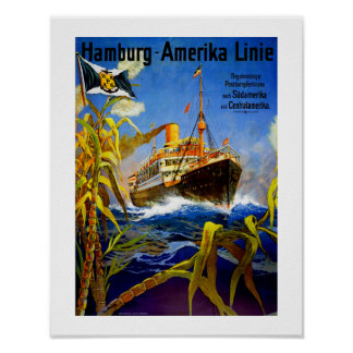 Hamburg Amerika nach Südamerika Poster