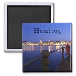 Hamburg Binnenalster blaue Stunde Magnet Magnets