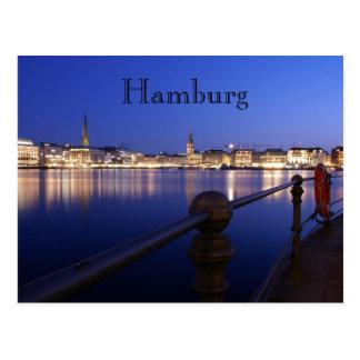 Hamburg Binnenalster blaue Stunde Postkarte