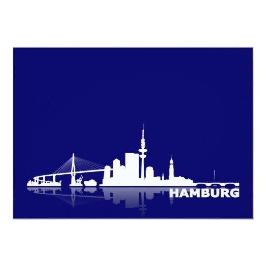 Hamburg City Skyline Karte /Klappkarte/Einladung 12,7 X 17,8 Cm Einladungskarte