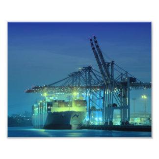 Hamburg Containerhafen Nachts Fotografische Drucke