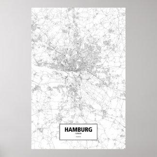 Hamburg, Deutschland (Schwarzes auf Weiß) Poster
