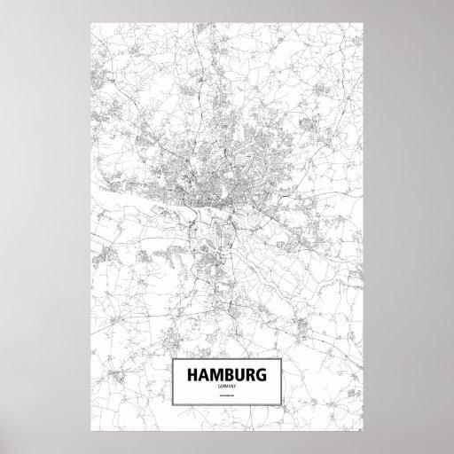 Hamburg, Deutschland (Schwarzes auf Weiß) Plakatdrucke