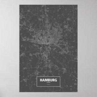 Hamburg, Deutschland (weiß auf Schwarzem) Poster