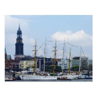 Hamburg-Hafen Hafen Michel Deutschland Schiffe Postkarte