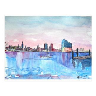 Hamburg-Hafen-Skyline und Elbe philharmonischer Postkarte