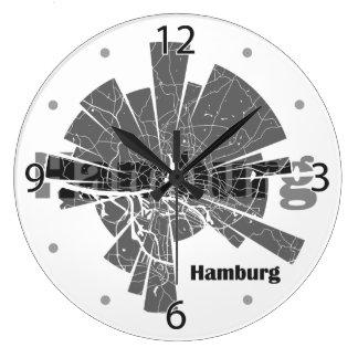 Hamburg-Karte Große Wanduhr