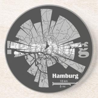 Hamburg-Karte Sandstein Untersetzer