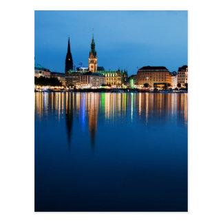 Hamburg See Binnenalster nachts Postkarte