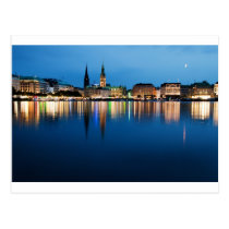 Hamburg See Binnenalster nachts Postkarten