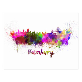 Hamburg skyline im Watercolor Postkarte