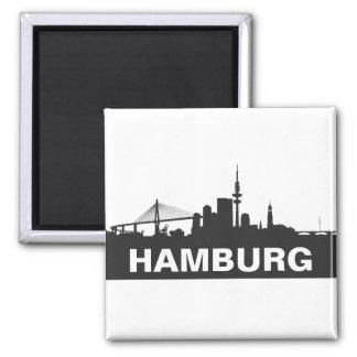 Hamburg Skyline Kühlschrank Magnet Quadratischer Magnet