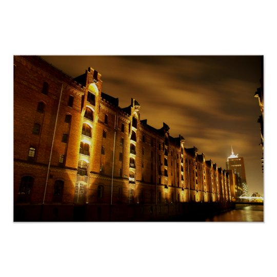 Hamburg - Speicherstadt bei Nacht - Druck Poster