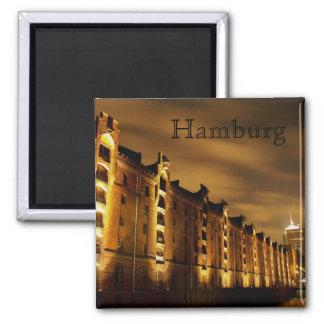 Hamburg - Speicherstadt bei Nacht - Magnet Quadratischer Magnet