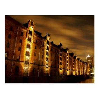 Hamburg - Speicherstadt bei Nacht - Postkarte