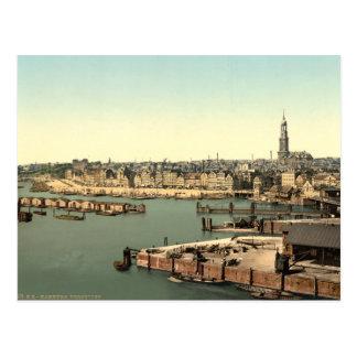 Hamburg vom Uhr-Turm, Deutschland Postkarte