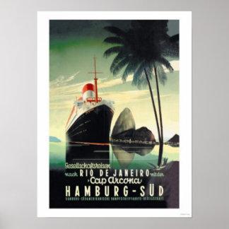 Hamburg zu Rio de Janeiro auf der Kappe Arcona Plakatdruck