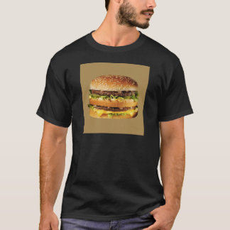 Hamburger auf Tan T-Shirt