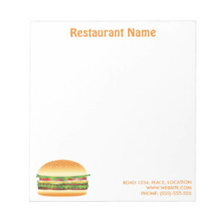 Hamburger-Gewohnheits-Restaurant Notizblock