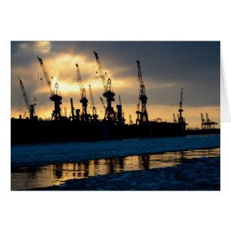 Hamburger Hafen Sonnenuntergang - Hamburg Grußkarte