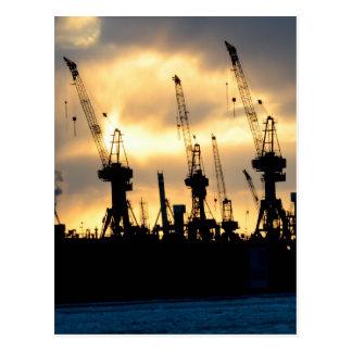 Hamburger Hafen Sonnenuntergang - Hamburg Postkarten