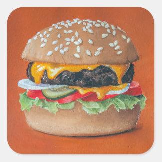 Hamburger-Illustrationsaufkleber Quadratischer Aufkleber