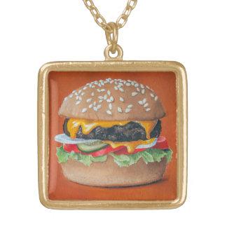 Hamburger-Illustrationshalskette Vergoldete Kette
