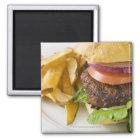 Hamburger und Pommes-Frites Quadratischer Magnet