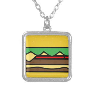 Hamburger-Zeichnen Versilberte Kette