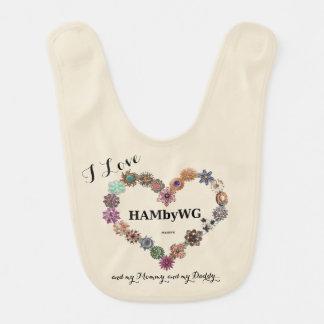 HAMbWG - Baby-Schellfisch - Jeweled Herz Babylätzchen
