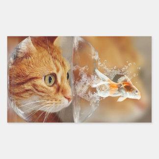 HAMbWG - Rechteck-Aufkleber - Katze mit Fischen Rechteckiger Aufkleber